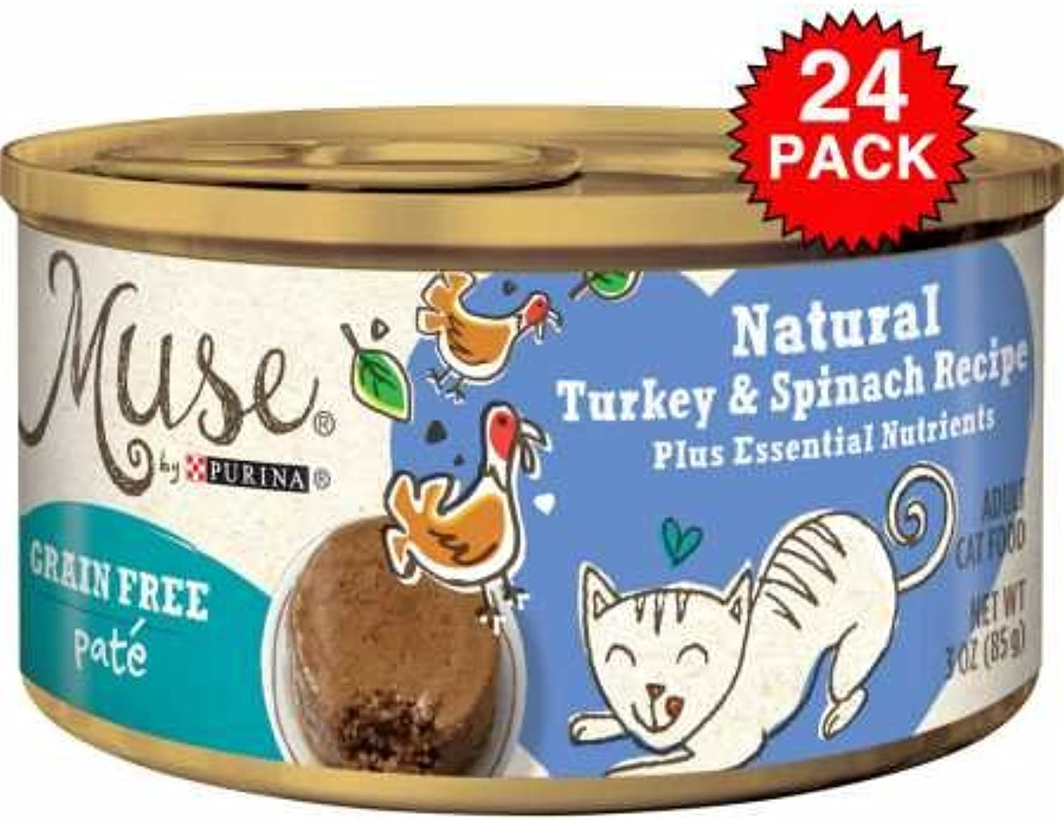 Muse Natural Turkey Spinach Cat Food Pate (24x3oz)
