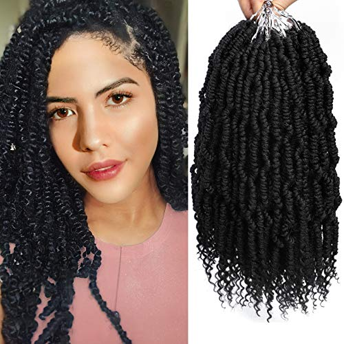 MIRRA'S MIRROR Bomb Twist Crochet Hair 6 Packs 10inch Spring Twist Hair Mini Passion Twist Hair Pre looped Crochet Braids Pretwisted Synthetic Braiding Hair for Black Women (1B)