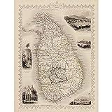 Wee Blue Coo Ceylon Sri Lanka Map Art Print Poster Wall