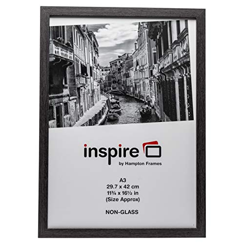 The Photo Album Company Inspire for Business WESA3GRY Bilderrahmen für Urkunden mit Plexiglas 30x42 cm A3 Holz mit Papierüberzug in Westminster-Qualität, nur zum Aufhängen, Dunkelgrau