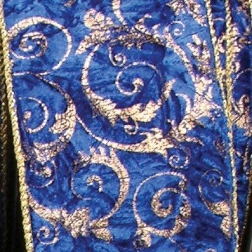 The Ribbon Max 76% Max 50% OFF OFF People Blue with Gold Fabric Edge Wired Craft Cord Ri