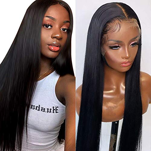 Lace Front Wigs Human Hair for Black Women Straight 13x4 Lace Front Wigs Pre Pluckedwith Baby HairBrazilian Virgin Human Hair Wigs 150% Density 20 Inch Natural Color