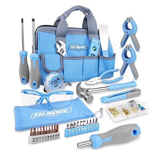 Hi-Spec 35-teiliges blaues Heimwerker-Werkzeugset & Schutzbrille mit 100-teiligem Wandbild-Aufhängeset für die Reparatur und Wartung von Haushaltsgeräten in einer praktischen blauen Werkzeugtasche