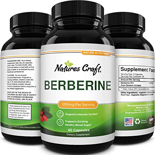 Berberine 1200mg Supplement - Berberine HCL Active PK Metabolism Booster for Heart Health - Antioxidant Supplement and Immune System Booster for Liver Support Sugar Balance and Mood Boost