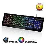 KLIM Domination Teclado Mecánico RGB ESPAÑOL - Interruptores Azules - Tecleo Rápido y Cómodo Teclado Gaming Retroiluminado - Completa Personalización de Colores - PC, PS4, Xbox One - Nueva Versión