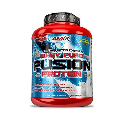 AMIX - Proteína Whey - Pure Fusion - 2,3 Kg - Concentrado de Suero Ultra Filtrado - Proteína Isolada con Splenda - Contiene L-glutamina - Proteínas para Aumentar Masa Muscular - Sabor Chocolate 🔥