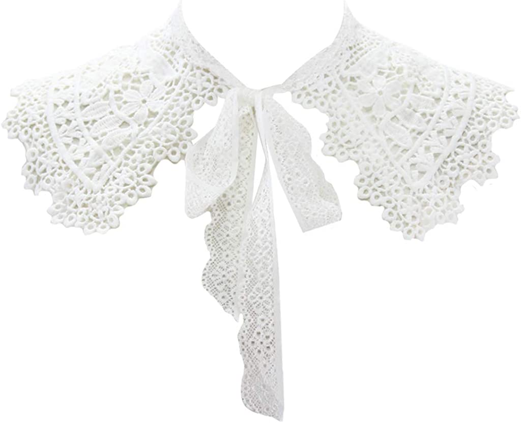 YOUSIKE Neck Chain, European Pastoral Style Womens Doll False Fake Collar Hollow Out Embroidery Floral Lace Half Shirt Shawl with Lace Up Bowtie Necklace