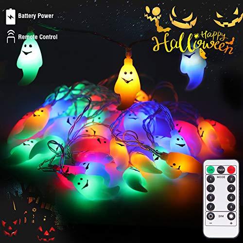 LUNSY ichterkette 30LED Halloween lichterketter Farbgeist with Fernbedienung Wasserdicht für Außen Weihnachten Halloween Party Park Fest Deko …