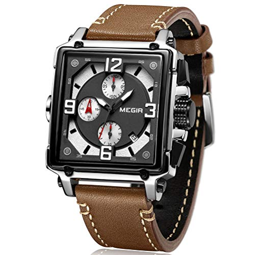 MEGIR Orologio da uomo rettangolare marrone cinturino in pelle impermeabile – cronografo analogico da uomo – Orologio sportivo in acciaio inox con data