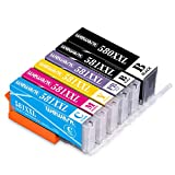 Wewant PGI-580XXL CLI-581XXL Cartucho de tinta Compatible para usar en lugar de Canon 580 581 XXL con Canon Pixma TS8150 TS8151 TS8152 TS8250 TS8251 TS8252 TS9150 TS9155 (Incluye Foto Azul)