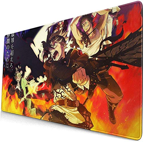 Long Desk Mat Black Clover Japanese Anime Style Large Gaming Mouse Pad Desk Mat Long Non-Slip Rubber Stitched Edges Mice Pads 15.8x29.5 in