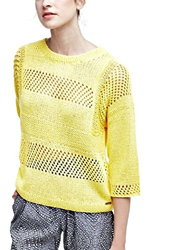 Guess Pull Femme à Manches 3/4 INES Jaune