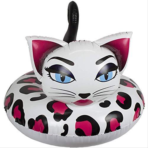 Mmydxd Leopard Katze Schwimmring, PVC Gesicht Katze Sitz Schwimmende Reihe, Rettungsring, Aufblasbare PVC Schwimmbad Trainer