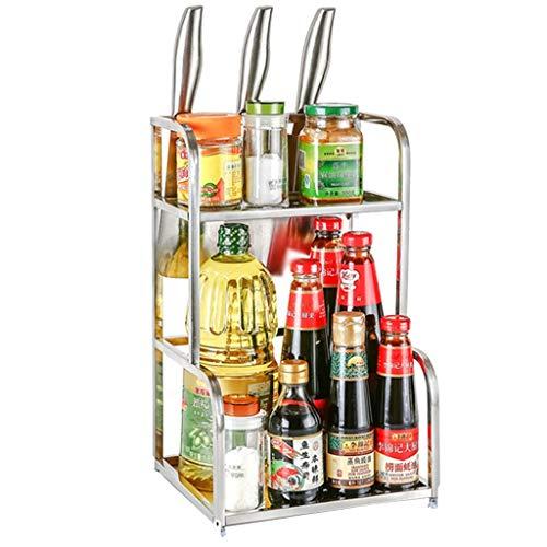 Petits racks à épices pour armoires Etagère de rangement pour bouteilles à condiments de comptoir en acier inoxydable à 2 niveaux