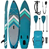 ALPIDEX Tabla Hinchable Surf Stand Up Paddle Board 305 x 76 x 15 cm ISUP Peso Máximo 110 kg Sup Ligero Estable Juego Completo, Color:Petrol