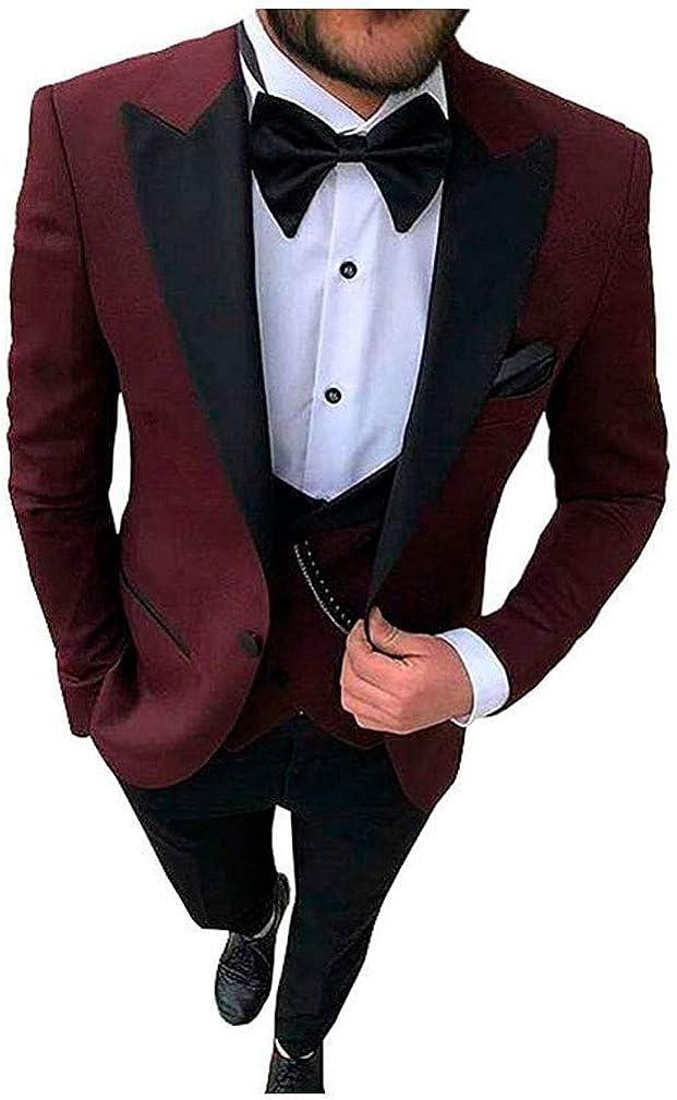 Men's Regular Fit Notch Lapel Suits 3 PC Prom Wedding Suits Groom Tuxedos Dinner Suits Business Suits