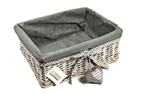 Material - Our storage baskets are made from natural and sustainable wicker in antique grey wash finish. Liner - Matching grey liner boasting a little heart accessory and liner is fully removable and washable. Multi Functional Baskets - Perfect for u...