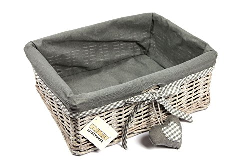 Woodluv Wicker Large Storage Gift Hamper Shelf Basket with Lining, Grey