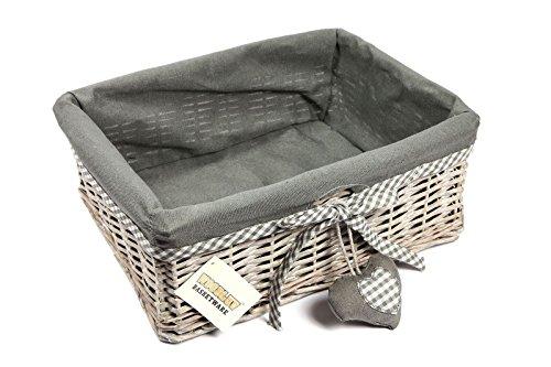 Woodluv - Cesto in vimini grande con fodera, grigio