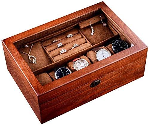 Multifunctional Reloj de almacenamiento Caja de madera Reloj de madera Caja de joyería con cerradura Caja de madera Caja de madera Doble caja de almacenamiento Caja de visualización (Color: Marrón, Ta