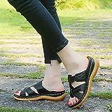 ypyrhh Palabra de Mujer con Sandalias,Sandalias Retro Ligeras, Pendientes y Zapatillas de Gran tamaño.-Negro_35,Tira Ancha Suela con Agujero
