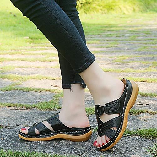ypyrhh Zapatos Unisex Adulto,Sandalias Retro Ligeras, Pendientes y Zapatillas de Gran tamaño.-Negro_41,Zapatillas Flip Flops Sandal