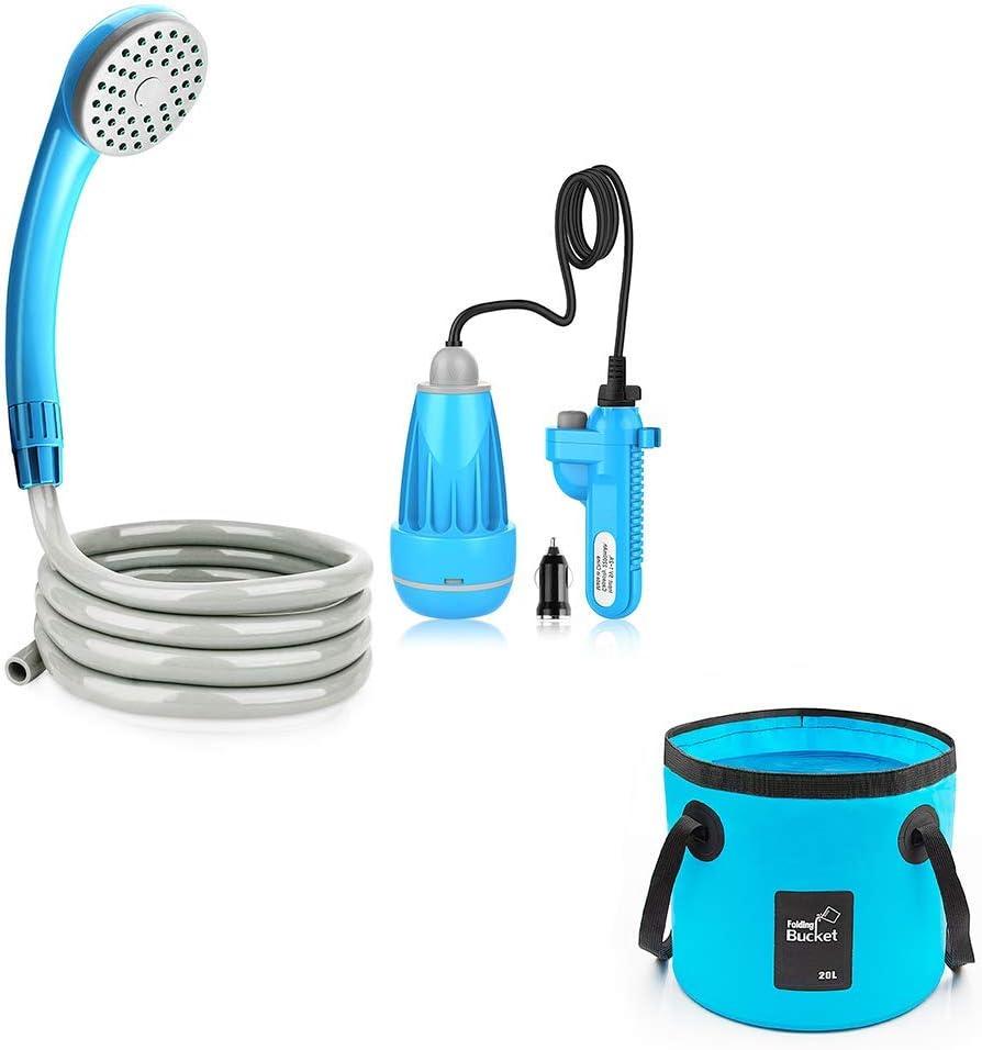 Sale item Riigoo Camping Shower Pump Bucket + Spasm price Fishing Flding