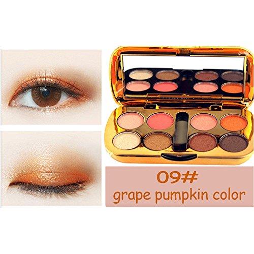 Fard à PaupièRes,BeautyTop 8 Couleurs CosméTique Poudre PaupièRes Palette Maquillage Set Libre Scintillant MéTallisé Pow Shimmer Eyeshadow Makeup Eyes