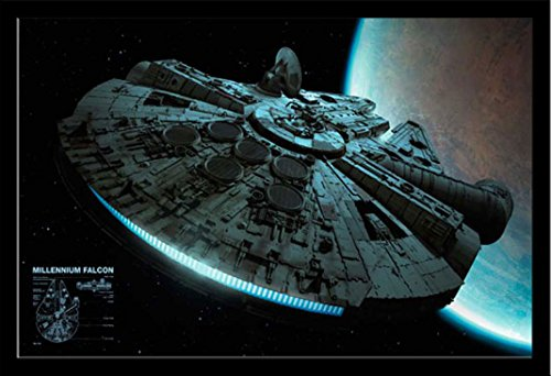Empire Star Wars Poster Millennium Falcon + Zusatzartikel m. MDF-Rahmen Maxi schwarz