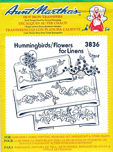 Aunt Martha's Hot Iron Transfers 3836 Hummingbirds/Flowers Linens Embroidery