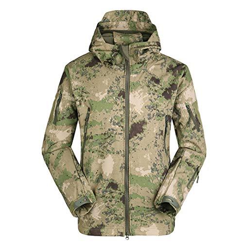 Softshell Thermique Hommes Polaire Tactical Vestes Sports de Plein air Manteau Randonnée Escalade Chasse Coupe-Vent Militaire Green Camouflage XL