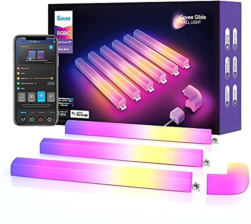Govee Glide RGBIC Barras de Luz LED WiFi para Pared, Sync con Música para Juegos y Habitación Gaming, 40+ Escenas Dinámicas, Inteligente Alexa y Google Assistant, 6 Unidades y 1 Esquina