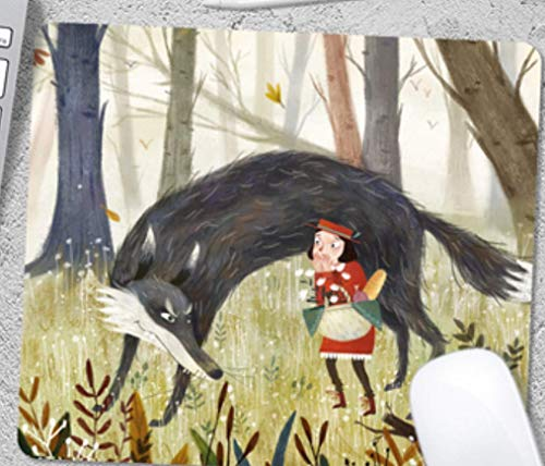 Game Mouse Pad, Forest Little Girl And Evil Big Bad Wolf, Wear-Resistant And Durable Rubber, Notebook Game Mouse Pad