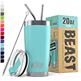 BEAST 20oz Tumbler Insulated Stainless Steel Coffee Cup with Lid, 2 Straws & Brush by Greens Steel (20 oz, Aquamarine Blue)