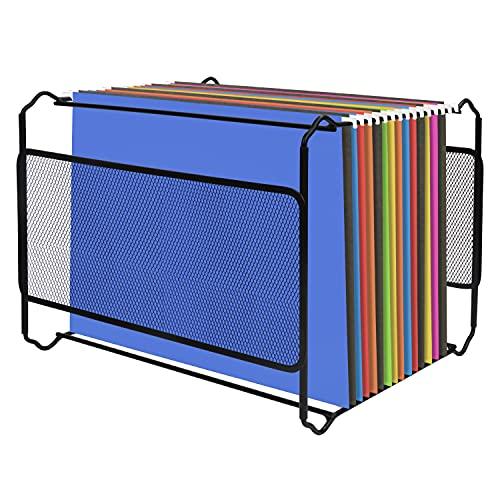Belle Vous Archivador Carpetas Colgantes Malla Negra A4 – 33,5 x 28,2 x 25 cm - Puede Contener Alrededor de 30 Carpetas - Caja Archivador Mueble de Sobremesa, Uso Oficina y el Hogar 🔥