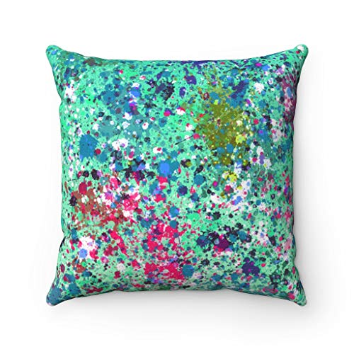 Promini Abstract Pillow Cover, Mint Green Colorful, Paint Splatter, Modern Pillowcase Watercolor, Decorative Couch Pillow Cover Case Cushion for Sofa Home Decor 22 x 22 Inches