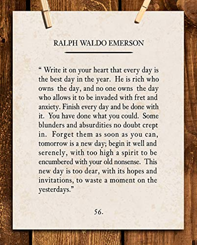 'Write It On Your Heart'- Ralph Waldo Emerson Poem Page Print- 8 x 10' Poetic Wall Art. Distressed...