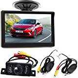 Wireless Vehicle Backup Camera System,5 Inch Display Color Monitor +7 LEDs Waterproof Night Vison Reversing Reverse Rear View Camera Kit, Best For car