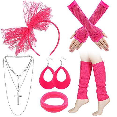 Blulu 80s Costume Pizzo Cerchietto Orecchini Collana Bracciale Scaldamuscoli a Rete Guanti (Rosso Rosa)