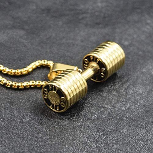 Yaoliangliang Halskette Hantel Go Fit T Fitness Bodybuilding Gym Gold Schwarz Farbe Crossfit Langhantel Halskette Fitness Schmuck 316L Edelstahl