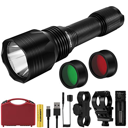 LUMENSHOOTER U9Plus 1000 Lumens Scope Hunting Light, Green Red Filter White Night Predator Flashlight, Picatinny Rail Mount Coyote Light Kit, Spotlight for Hog, Varmint, Coon, Pig, Deer, Fox