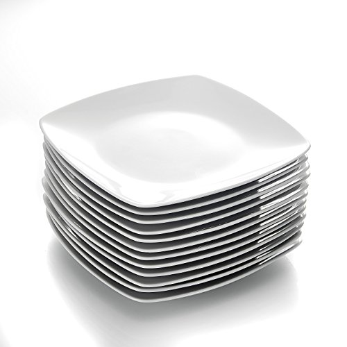 MALACASA, Julia-Serie, 12-teilige Porzellan-Teller, weißer Teller 9,25 ', Servierteller für 12 Personen