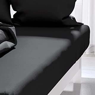 AtmosphÚre 614217 Drap Housse Noir Atmo 160 x 200 cm