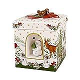 """Villeroy und Boch - Christmas Toy's Windlicht """"Weihnachtsbaum"""" groß eckig, dekoratives Geschenkpaket aus Hartporzellan, für Teelichter geeignet, integrierte Spieluhr, bunt"""
