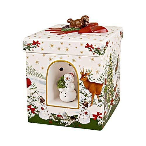 """Villeroy & Boch - Christmas Toys Windlicht """"Weihnachtsbaum"""" groß eckig, dekoratives Geschenkpaket aus Hartporzellan, für Teelichter geeignet, integrierte Spieluhr, bunt"""
