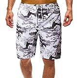 Costumi da Bagno Uomo Nuoto Surf Lunghi Costume da Bagno Uomo Boxer Pantaloncino Corto Fiori Short da Mare Piscina Pantaloncini da Bagno Maschili Beachwear Asciugatura Rapida Spiaggia Sport Bianco M