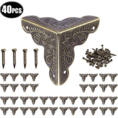 cersaty® 40 x Antik Möbel Ecken,Eckenschutz Metall,Buchecken Schutzecken Möbel Zubehör für Kisten Boxen Möbel Regal Tisch,Vintage Bronze-Farbe Optik,25x35mm,160 passende Nägel