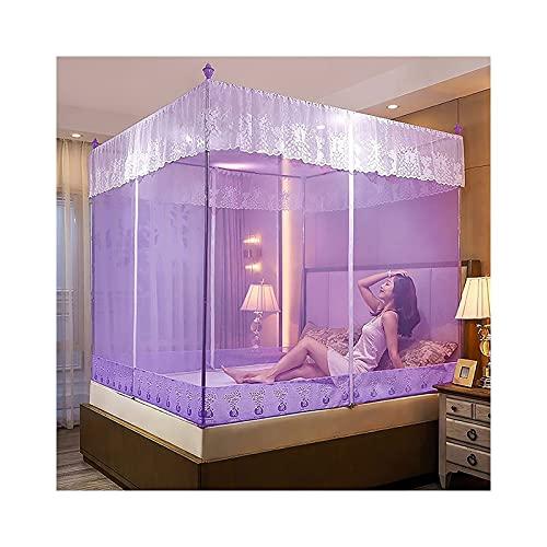 Mosquito Net para cama con marco - 3 apertura - Netificación de la tienda plegable para cama de 1,2 m - cama de 2.0 m, niñas y adultos gemelo a cama king size (Color: púrpura, Tamaño: 2.0m Cama)
