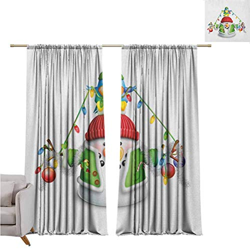Snowman Bedroom Rod Pocket Blackout Curtains Cartoon Whimsical Character with Christmas Garland Blue Bird Various Xmas Elements Living Room Color Curtains Set of Two Panels for Curtains W42 x L84 Inc