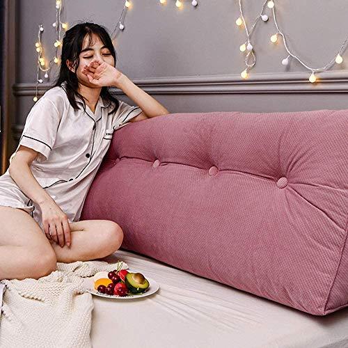 Lunga parte posteriore Supporto cuscino Heaboard Letto cuscini con cuneo Schienale per la lettura Bolster cuscini per divano letto Velvet,Rosa,100 * 50CM